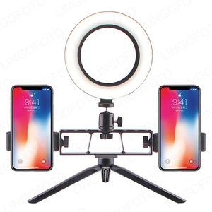 """6 """"8"""" 10 """"LED Selfie Ring Light Circle LED Desktop Lampada con supporto per 2 Telefono in diretta flusso fotografia UC9786"""