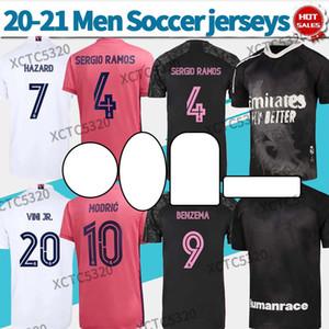 20 21 Camise Real Madrid Jerseys 홈 멀리 축구 셔츠 위험 벤제마 Marcelo 20-21 남자 축구 셔츠 세 번째 블랙 맞춤형