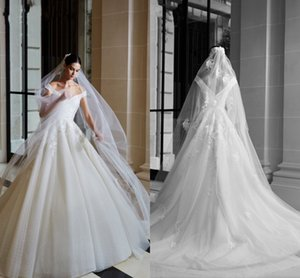 Vintage V Neck Wedding Dresses 2021 Sexy Off the Shoulder Lace Appliques Bridal Gowns Sweep Train Tulle A Line vestido de noiva New AL8407