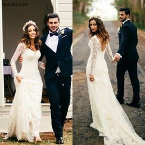 Vintage Full Lace 2021 Wedding Dresses Mermaid V-neck Long Sleeves Lace Boho Dubai Arabic Wedding Bridal Gown Bridal Dresses