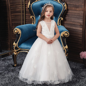 Western style v-neck wedding gown High grade flower girl evening dressfeather gauze Princess Dress birthday party Festival Long Dress