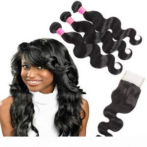 8A Mink Hair Peruvian Body Wave Human Hair Weave Bundles With Closure Wholesale Brazilian Hair 3 Bundles With Lace Closure