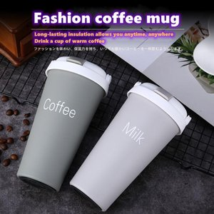 Hand-held straw coffee cup, creative 304 stainless steel vacuum flask, car water cup, cute macaron handle cup warm for 6-12 hour