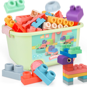 Baby Rubber Size Particle Toys DIY Building Blocks Big Brick Early Educational Large Soft Bricks Toy Bath For Toddler Q1126