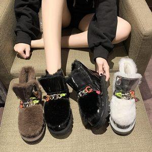 Botas acolchadas Zapatos de mujer Plataforma Bling Bling Australia Calzado de invierno Toe Round Toel Boots-Women Luxury