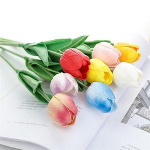Colorful Tulips Imitation Flower Silk Flower Wedding Festival Living Room Bedroom Home Decorative Flowers 300pcs lot T2I255