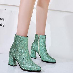 Rimocy Plus Размер 43 квадратных каблуки сапоги женщины сияющие блеск заостренные носки ботильоны женщины мода молнию золота Zapatos de Mujer