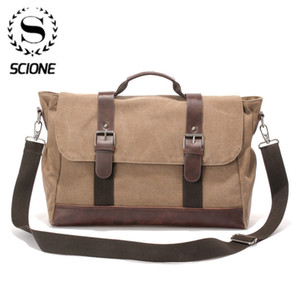 Scione Men Canvas Crossbody Casual Message Multifunction Solid Zipper Shouder Bags Single Strap Handbags Q1129