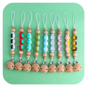 Dummies Baby Pacifier Clip Chain New Beech Wood Nipple Clip Holder Dummy DIY Creative Silicone Octagonal Teether Beads Chewy Toy Kids