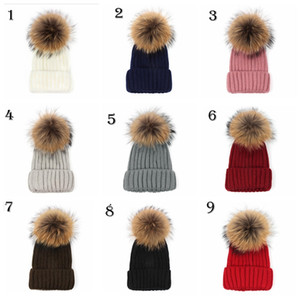 Quality Removable Real Mink Fox Fur Pom Poms Ball Acrylic Beanies Winter Warm Plain Hats Adults Slouchy Mens Womens Snow Warm Hat LJJA530
