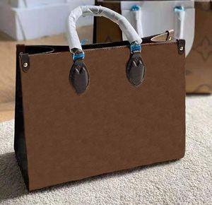 Moda di alta qualità Lady Brown Shopping Bag Banco di lusso 3a Vendita calda Classic Brand Pelle Canvas Grande capacità Borsa