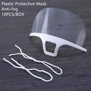 Clear Protective Face Mask Shield Plastic Kitchen Restaurant Masks Screen Half Face Isolation Mask Anti-fog Oil Protective Mask