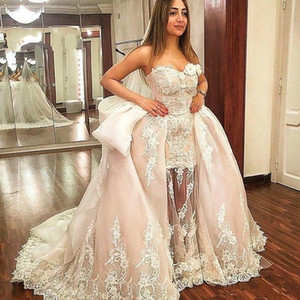 Amazing Champagne A line Wedding Dresses Bridal Gown 2021 Overskirt Sweetheart Lace 3d Floral Flowers Beads Ruched Wedding Reception dress