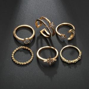 Yada New 6 Pcs set Bohemian Vintage Knuckle Rings For Women Hexagon Finger Ring Charm Metal Star Of David Hexagram Ring Rg200057 sqcjEs