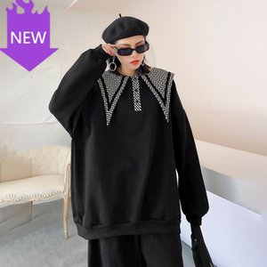 Long Sleeve Women Big Size Fashion Tide Spring Autumn 2020 Loose Fit Black Plaid Thick Sweatshirt New Round Neck