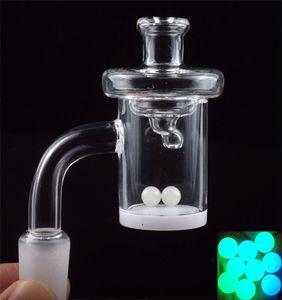 DHL 10mm 14mm female 18mm male bowl quartz banger 4mm Bottom 45 90 Degree Quartz Nail With UFO Carb Cap Luminous Terp Pearl