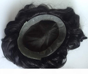 Lace with Thin Skin Toupee 9A Top Quality 1B Virgin Brazilian Human Hair 32mm Wave Toupees for Black Men Free Shipping