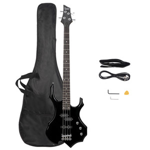 Glassry Burning Fire Electric Bass Guitar Full Size 4 String Bag Strap Paddle Cable Wrench Tool Black