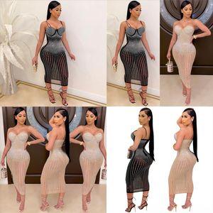 KXQM Tiger Stripes Gedruckt Damen Casual Dresses Sexy Mode Casl Kleid Damen Heiß Bohrer SchulternExy Designer Kleider Casual