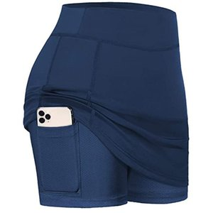 Skirts yoga shorts with pocket Tennis Skorts Scrunch Fake two pieces Skirted Running Sports Inner Elastic High wasit Golf Shorts
