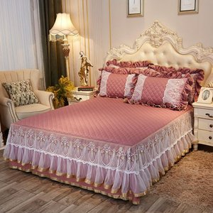 Luxury Pink Gray Blue Beige 100% Cotton Sanding Thick Quilting Lace Embroidery Bed Skirt Bedspread Pillowcases 3pcs Bedding Set