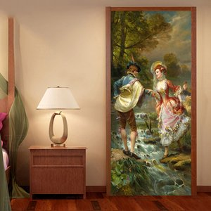 European Style 3D Oil Painting Figure Door Sticker Living Room Bedroom Self-Adhesive Waterproof Wall Sticker Home Decor 3D Decal