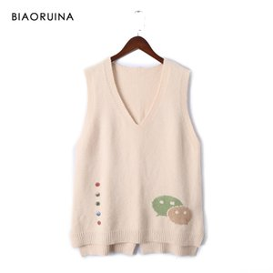 Biaoruina 6 Colors Women's Korean Style All-match Sleeveless Knit Sweater Vest Female V-neck Fashion Pullover One Size Y201128