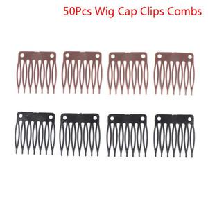Peruk Cap Uzantıları Combs Yapımı 50pcs Plastik Saç Peruk postiş Combs Klipler