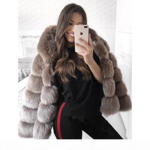 5XL Plus size faux fur coat women Winter hooded thick warm jacket coats Fluffy hoodie faux fur coat outwear Elegant overwear