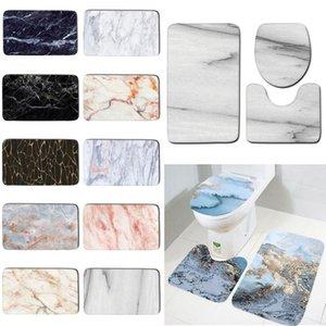 Tapete antiderrapante Set Blue Ocean Series Base Base Tapete + tampa Tampa do banheiro Banheiro Esteira Conjunto de três peças