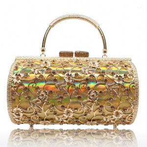 New with Holes Metal Diamond Evening Bag Large Capacity Hard Box Handbag Banquet Women's Evening Dress Bag1