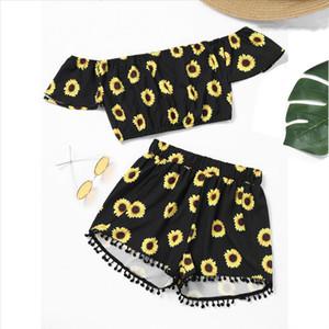 Clothes Women Off Shoulder Sunflower Print Crop Tops Tassel Shorts Two Piece Outfit new short sleeve t shirt women R20