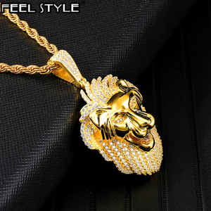 Copper Animal Bling Full Iced Out Lion Rope Chain Pendants & Necklaces For Men HIP Hop Jewelry Gold Color Dropshipping