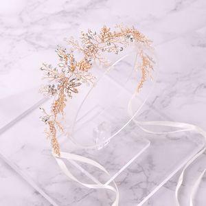 AILIBRIDIDE Bandeau de mariage de mariage en or branché branchée Gold Crystal Bandeau de mariée Tiara cheveux bijoux Femmes mariages Cheveux ornements à la main J0113