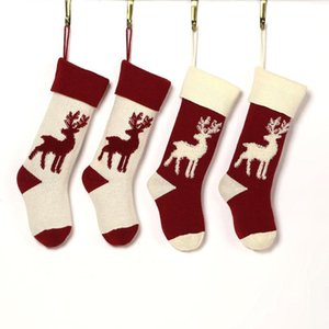 Christmas Stocking Bag Elk Christmas Gift Bag Knitted Reindeer Hanging Candy Socks Knitted Yarn Candy Decorations