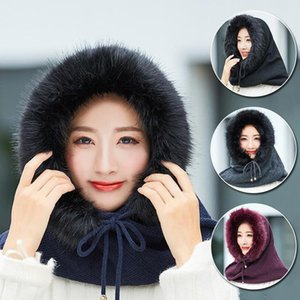 Knitted Hat Scarf Set Women Winter Warm Wind-proof Hooded Collar Scarf Cashmere Elastic Cap Female Outdoor Sport Wool Plush Hats