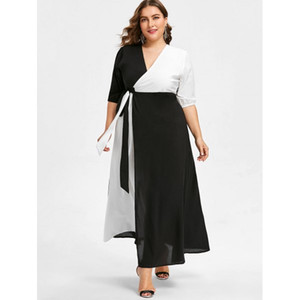 Black And White Plus Size Prom Dresses A Line V Neck Side Split Evening Gown Ankle Length Chiffon Half Sleeves Formal Dress