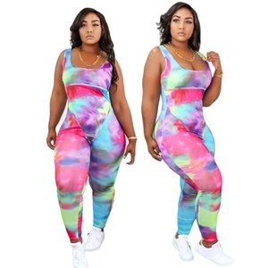Nuevo Lanzamiento de Tie-Dye Women Plus Size Sumpsuits XL - Fiesta de impresión 5XL Dameles de noche Dampers Equipo sin mangas Cuello Casual Sumpsuits