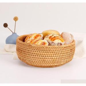 3pcs Set Round Storage Basket Fruit Dish Rattan For Weaving Handmade For Kitchen Food Picnic Bread Sundries Decor Cont qyllMx wphome