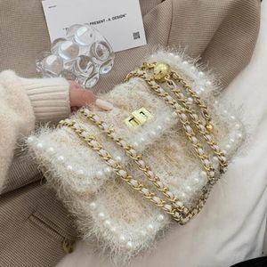Plush Square Crossbody bag 2020 Fashion New High-quality Wool Women's Designer Handbag Pearl Chain Shoulder Messenger Bag Purses