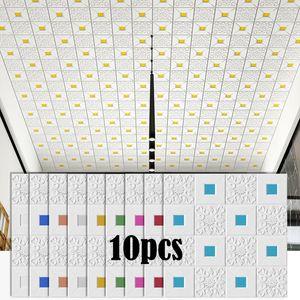 Stickers muraux 3D Plafond Stéréo Panneau Decoration Decoration Mousse Wallpaper Imperméable DIY Accueil Décor Salon Chambre à coucher Chambre à coucher TV