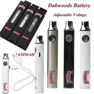 Новые Dabwoods Vape Pen Battery 650MAH VV Предварительно нагревая 510 Регулируемое напряжение для резьбы E-сигареты DAB USB Кабельные масляные тележки Батареи Box Package