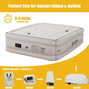 Luxury Raised Air Mattress Inflatable Airbed Built-in Pump Carry Bag Queen Size