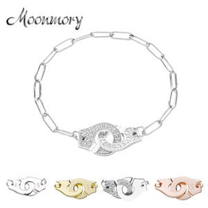 Moonmory 100% Authentic 925 Sterling Silver European Chain Handcuff Bracelet Menottes Hand Cuff Bracelet For Women Jewelry J1202