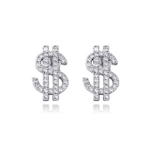925 high quality sterling silver with cubic zirconia, cash dollar earring, Hip Hop fashion jewelry, elegant gift