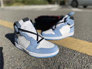Jumpman 1 Высокий ОГ Университет Синие Мужские Баскетбольные Обувь 555088-134 Женщины Мужские Спортивные кроссовки Размер 36 ~ 47