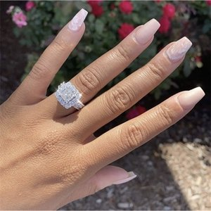 Luxury 925 Sterling silver pave 4pcs Princess-cut SONA Diamond Wedding rings for Women Simulated Platinum jewelry Girl gift Z1121