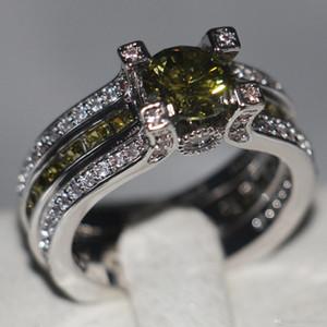 Victoria Wieck Jóias de Luxo 925 Esterlina Prata Choucong Olive Green Topaz Gemstones Party Wedding Mulheres Anéis para Amante Presente Tamanho 5-11