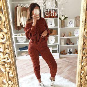 Autumn Winter Casual Knitted Tracksuit Set Women Solid 2 Piece Set Sportswear Top Shirts Sweatshirt Tops+Pants 2020