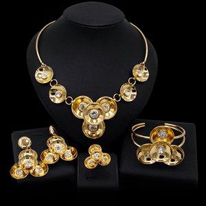Yulaili Newest Dubai Arab Africa Jewelry Sets Flowers Charm Choker Necklace Drop Earrings Bracelet Ring for Women Jewelery Set